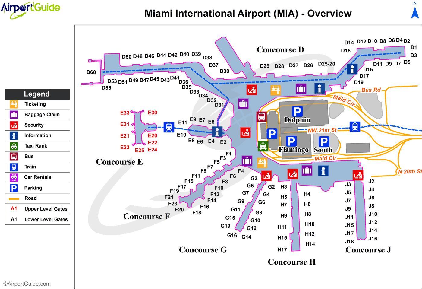 Aeropuerto De Miami Comida Mapa Del Aeropuerto De Miami Mapa De - Mapa florida usa