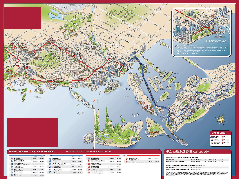 big bus mapa de miami - miami big bus tour mapa (florida