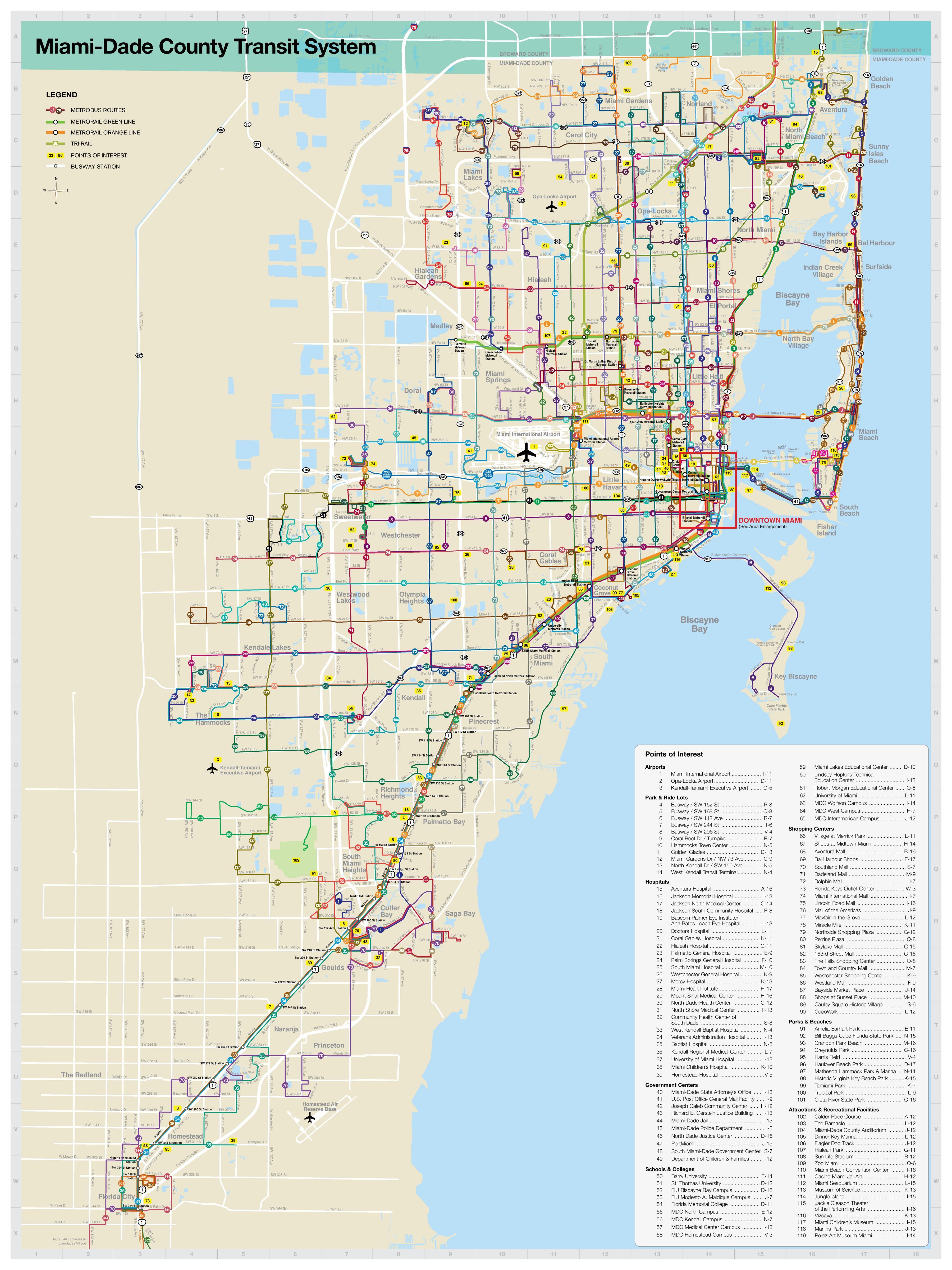 Miami Mapa De Transporte Miami Mapa De Transporte Público - Mapa de usa