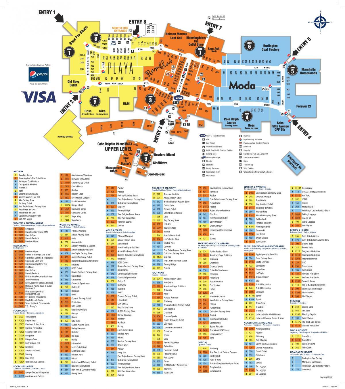 dolphin mall de miami mapa - mapa de dolphin mall de miami