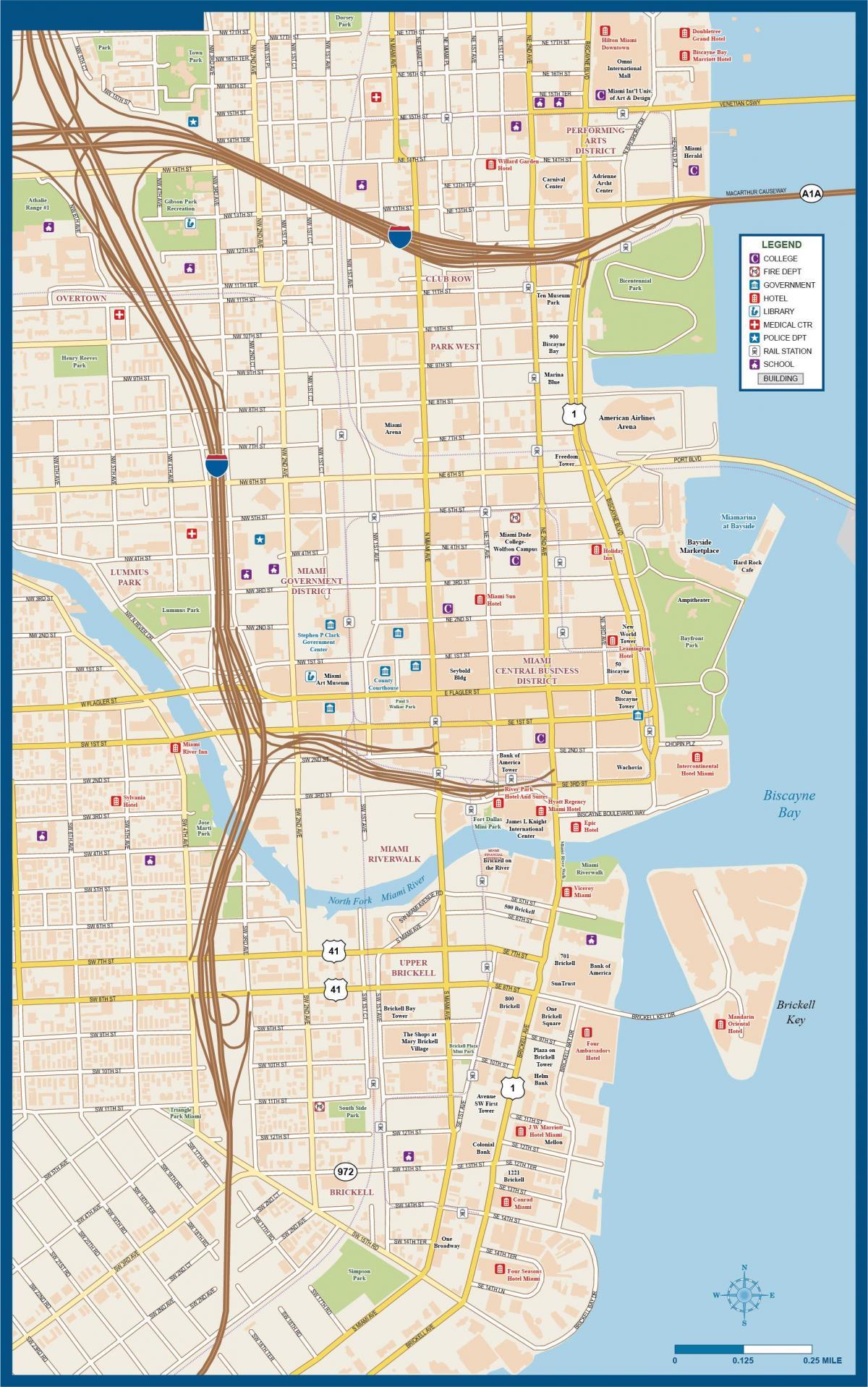 El Centro De Miami Mapa Mapa De La Ciudad De Miami Florida USA - Mapa de la florida usa