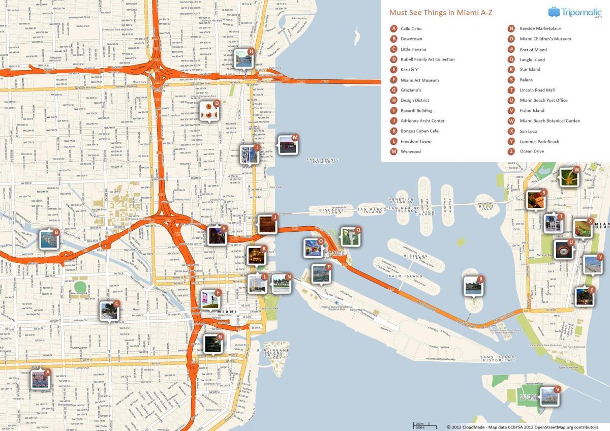 miami mapa turístico - mapa turístico de miami (florida - usa)