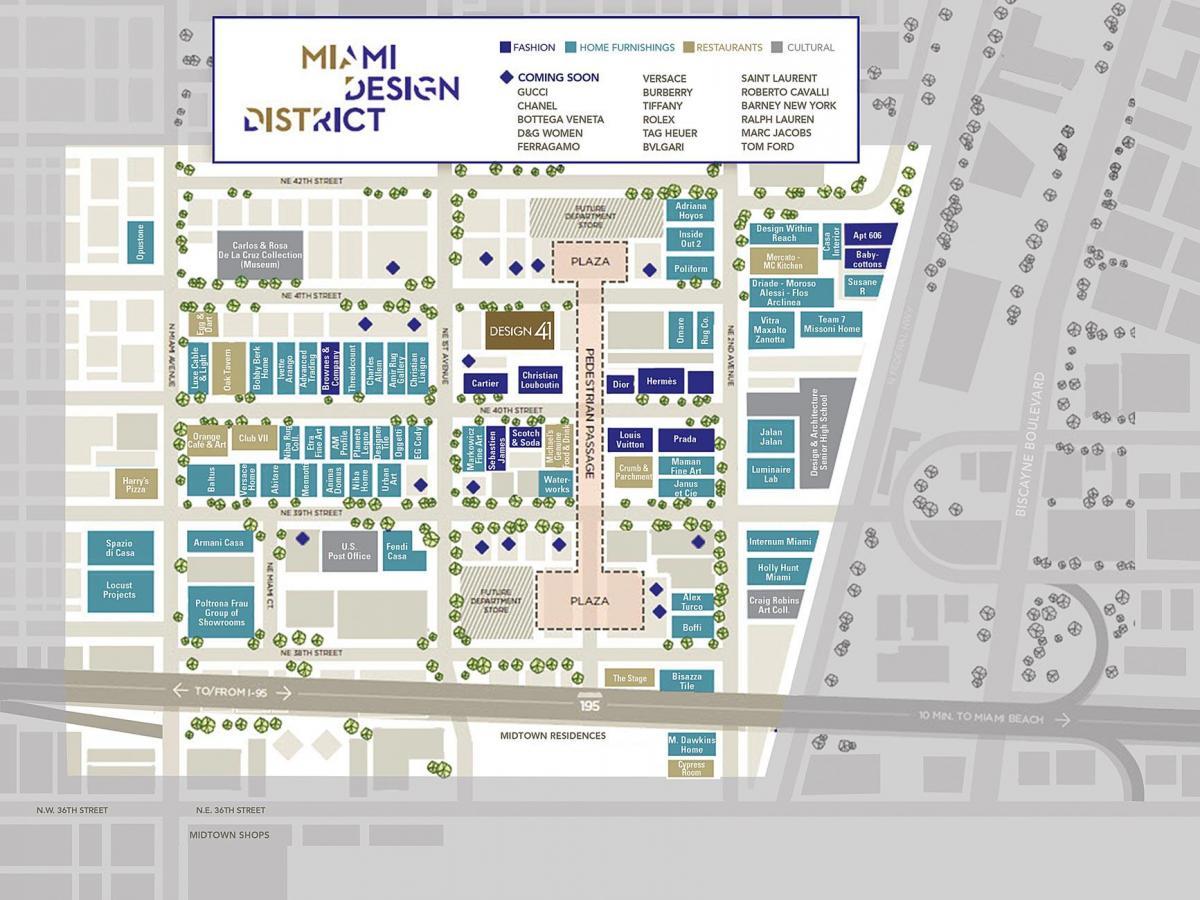 miami design district, map - mapa de distrito de diseño de