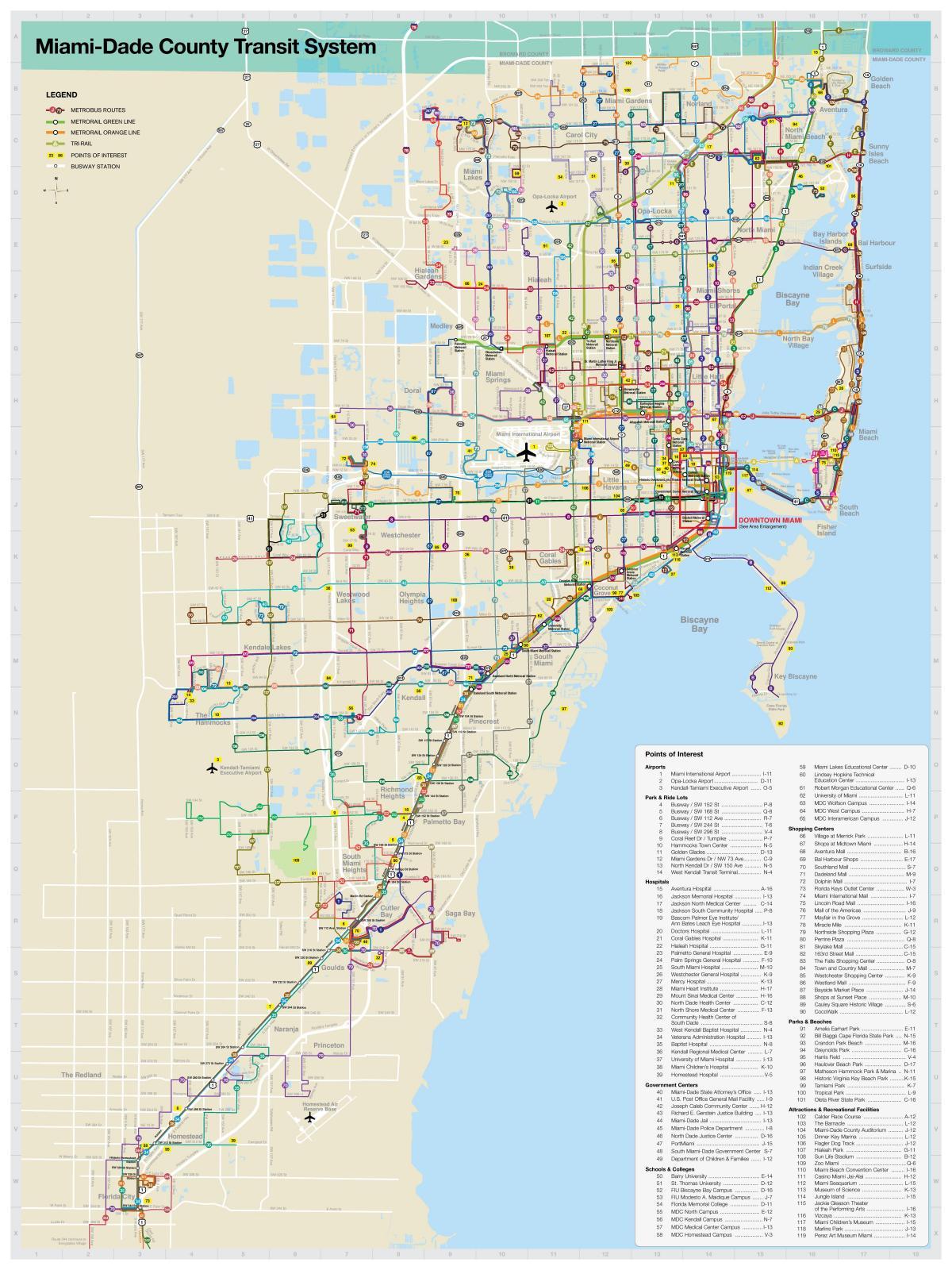 miami mapa de transporte - miami mapa de transporte