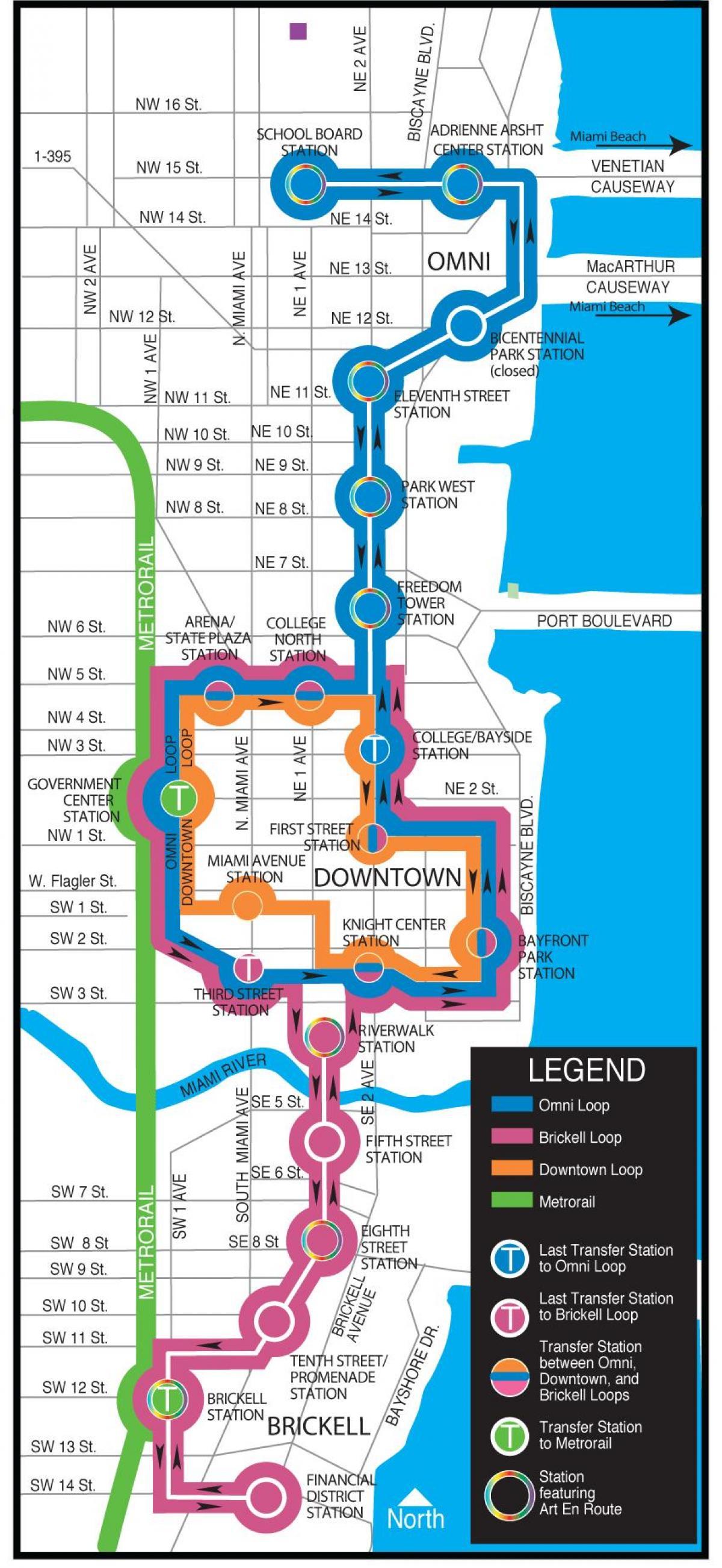 miami metromover mapa - metromover mapa de miami (florida